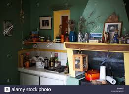 scene inside a french country village house kitchen stock photo