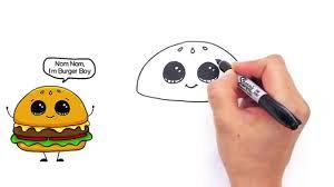 how to draw a cartoon hamburger cheeseburger cute and easy video
