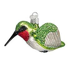 world hummingbird glass blown ornament