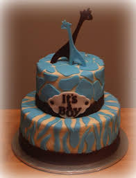 brown u0026 blue giraffe baby shower cake made to match wild safari