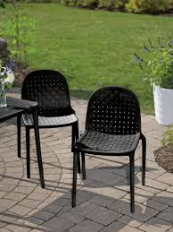 Resin Bistro Chairs Porto Resin Bistro Chairs In Blue Black Or White Gardeners