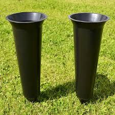 Graveside Flower Vases Set Of 2 Black Plain Spiked Memorial Grave Flower Vases Holder Ebay