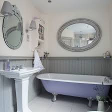 panelled bathroom ideas lilac and grey panelled bathroom roll top bath paneling painted