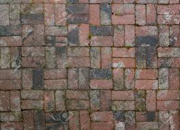 old factory brick used in alternating pattern patio floor stock