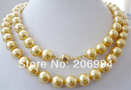 yellow pearl bracelet images Wholesales designer 10mm yellow south sea shell pearl necklace 35 jpg