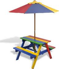 children u0027s wooden rainbow garden picnic table bench parasol set
