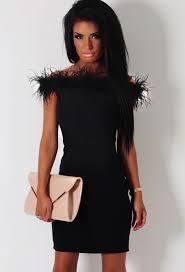 naeema black feather trim mini dress pink boutique