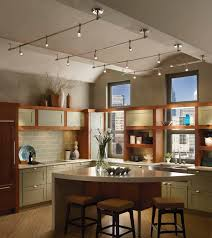 kitchen small parallel track lighting over mini kitchen island with comfy square stools set design homeyapt