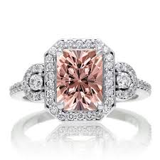 2 carat white gold engagement ring 2 carat emerald cut morganite and white halo engagement