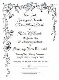 vow renewal ceremony program s vine marriage vow renewal certificate