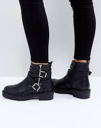 biker boots asos access biker boots in black lyst