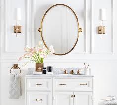 oval pivot bathroom mirror kensington pivot oval mirror pottery barn within oval mirrors for