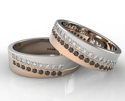 matching wedding band sets his and hers unique matching black and white diamonds wedding band