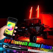 led light whip for atv amazon com night fire app bluetooth rgb whip light 5ft led antenna