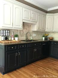 kitchen cabinets dark lower white upper black painted cabinet
