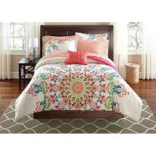 Echo Jaipur Comforter New Girls Twin Twin Xl Comforter White Red Teal Coral Kaleidoscope