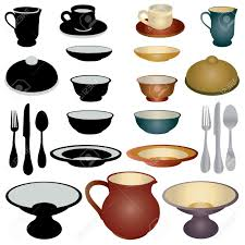Dining Dish Set Dinnerware Set Icons Royalty Free Cliparts Vectors And Stock