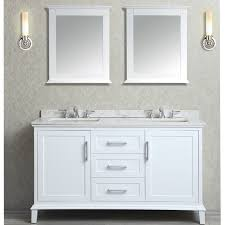 60 inch white double sink bathroom vanity set with two mirrors
