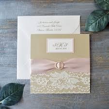 jordanne lace pocket wedding invitation blush and champagne