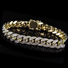 10mm diamond mens solid 10k yellow gold 56wt miami curb cuban link diamond