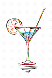 martini glass vector symbolic cocktail with lime slice and straw styled martini