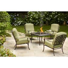 Home Depot Patio Furniture Cushions by Hampton Bay Edington 5 Piece Patio Fire Pit Chat Set With Celery