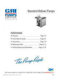 bellows metering pumps gorman rupp industries pdf catalogue