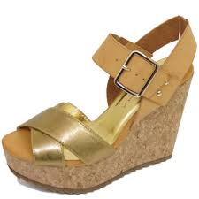ladies dolcis gold tan cork wedges platform sandals peep toe shoes