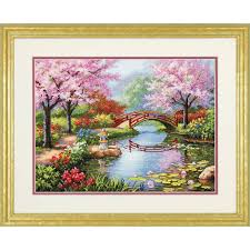dimensions cross stitch kit japanese garden hobbycraft