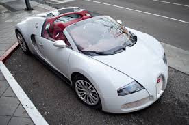 File White Bugatti Veyron Grand Sport With Red Interior