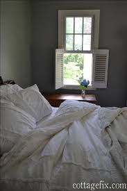 architectural salvage and fluffy white bedding cottage fix