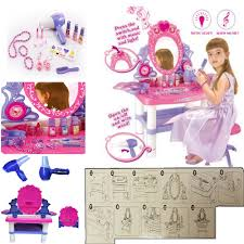 Little Girls Vanity Playset Girls Vanity Beauty Makeup Dresser Glamour Mirror Toy W Light