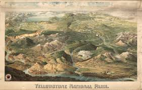 Map Of Yellowstone National Park Yellowstone National Park Drawing 1904 Birds Eye View Map