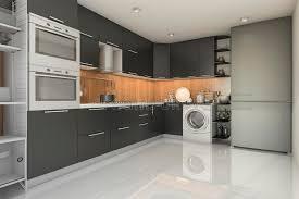 cuisine avec machine à laver cuisine moderne de grenier du rendu 3d avec la machine à laver