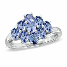 tanzanite blue rings images Oval tanzanite cluster ring in sterling silver gemstone rings jpg