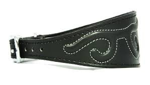 afghan hound collars uk black embossed stitch design leather whippet collar greyhound