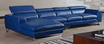 Blue Leather Chair Blue Full Grain Leather L Shaped Sofa With Chaise Lounge Decofurnish
