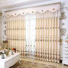 Valance Curtains For Living Room Blue Floral Print Linen Country Color Block Valance Curtains