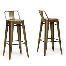 industrial metal bar stools with backs furniture gold painted metal swivel bar stool with back and brown