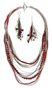 jewelry design multi strand necklace and earring set with accu
