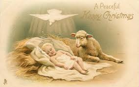 a peaceful happy baby jesus with white dove above