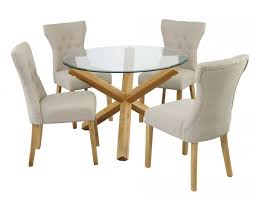 Glass Dining Table 4 Chairs Chair Round Glass Dining Table And Chairs Clear Inside For Eydon 4