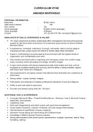 Interpersonal Skills List Resume Cv Amanda Whitehead Jan 2015 Aus No Image