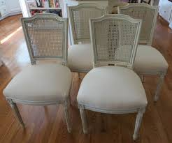 four italian antique caned back dining chairs totally