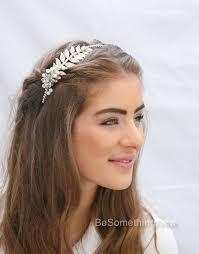 grecian silver tone metal leaf headband with rhinestones and