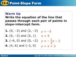 point slope form and writing linear equations worksheet answers