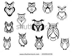 owls and owlets set isolated on white background in