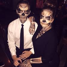 best unique couples costume halloween skeletons airbrush makeup