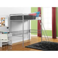 Twin Metal Loft Bed With Desk Walker Edison Twin Metal Loft Bed Silver Hayneedle