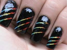 rainbow stripes how to use striping tape on nails youtube